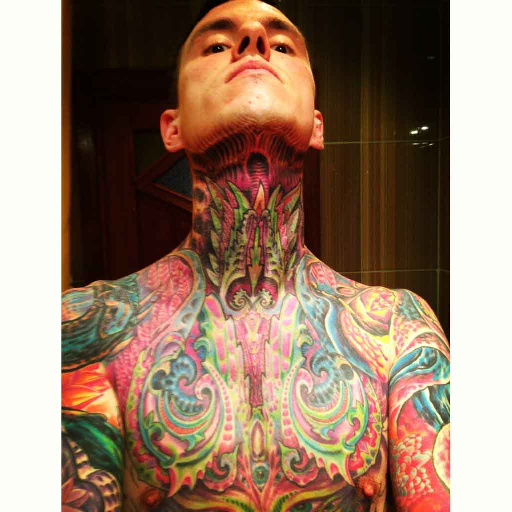 Abstract Muscle Chest and neck tattoo