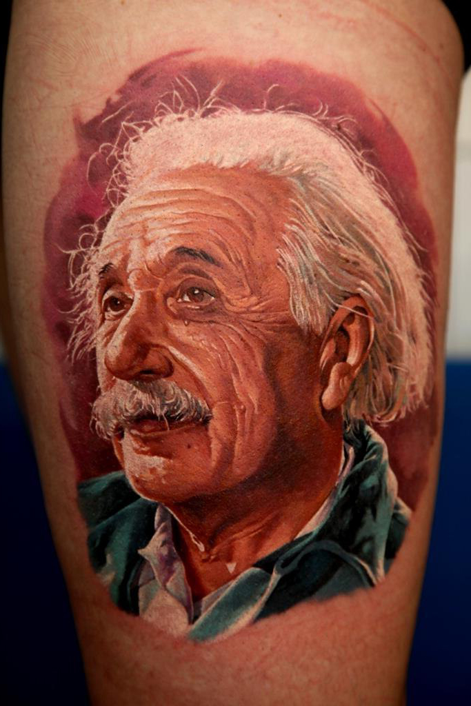 Albert Einstein realistic tattoo