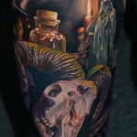 Alchemist Workshop realistic tattoo
