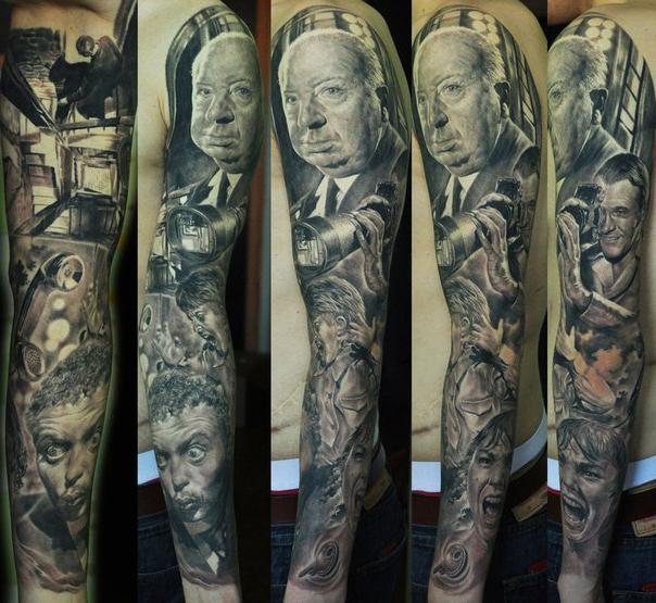 Alfred Joseph Hitchcock tattoo sleve idea