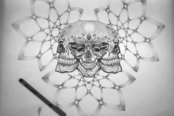 All for One Skulls dotwork tattoo
