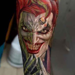 Amazing Colourfull evil clown tattoo