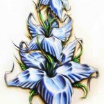 Amazing blue flowers tattoo for girls