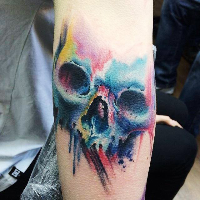 Angry Colorful Skull tattoo