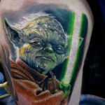 Angry Yoda Star Wars tattoo