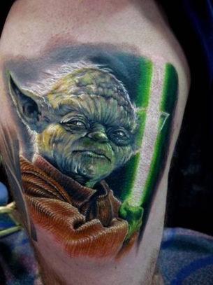 Angry Yoda Star Wars tattoo
