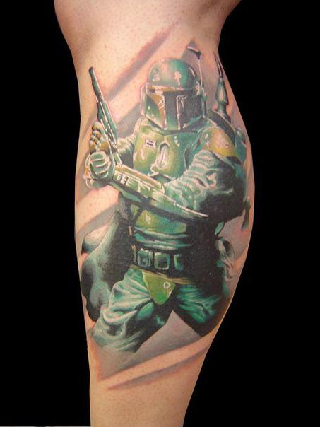 Ankle Realistic Boba Fett Star Wars tattoo