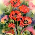 Aqarelle poppy flowers tattoo for girls