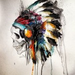 Aquarelle Indian Skull tattoo