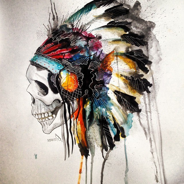 Aquarelle Indian Scull tattoo