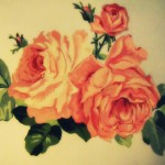 Aquarelle rose drawing tattoo