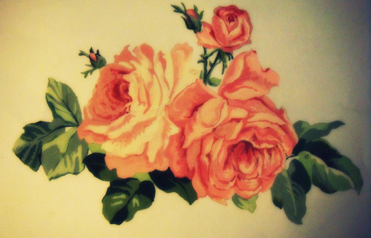 Aquarelle rose drawing tattoo