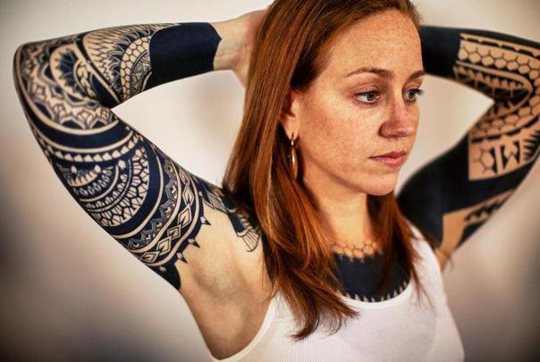 Aztec blackwork tattoo sleeves for girl best tattoo for Aztec tattoos for girls