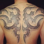Back organic tribal tattoo