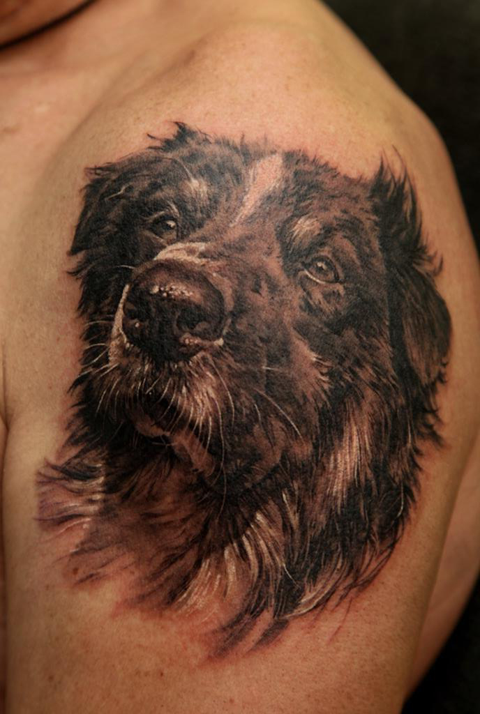 Beloved Dog pet realistic tattoo
