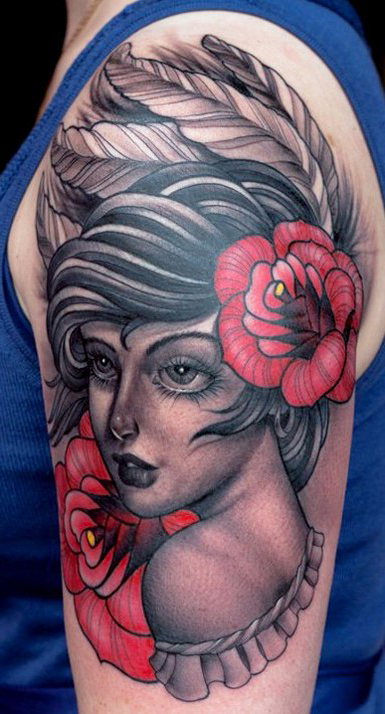 Big Eyes Beauty traditional tattoo