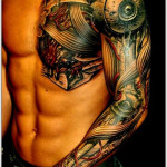 Biomechanical hand free tattoo design for men