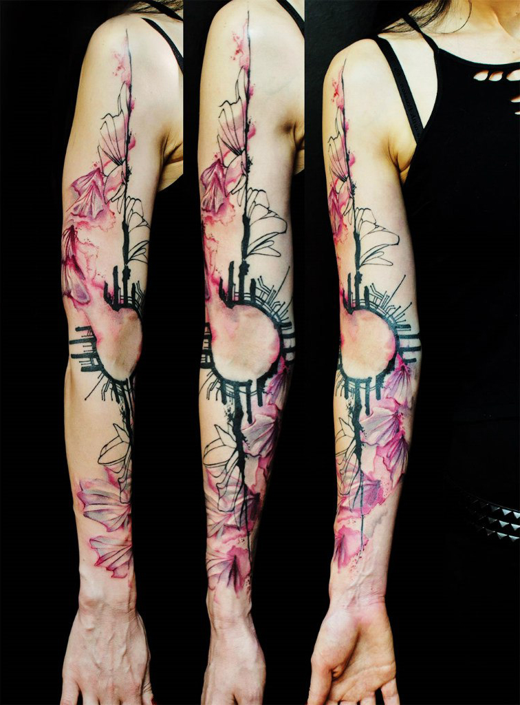 Black & Pink Schematics tattoo