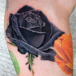 Black Rose realistic tattoo