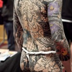 Black and White japanese yakuza tattoo on Body Back