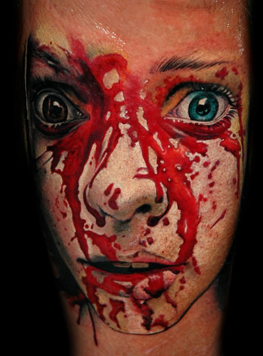 Flowed in Blood Girl's Face realistic tattoo