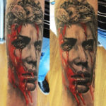 Bloody Medusa realistic tattoo