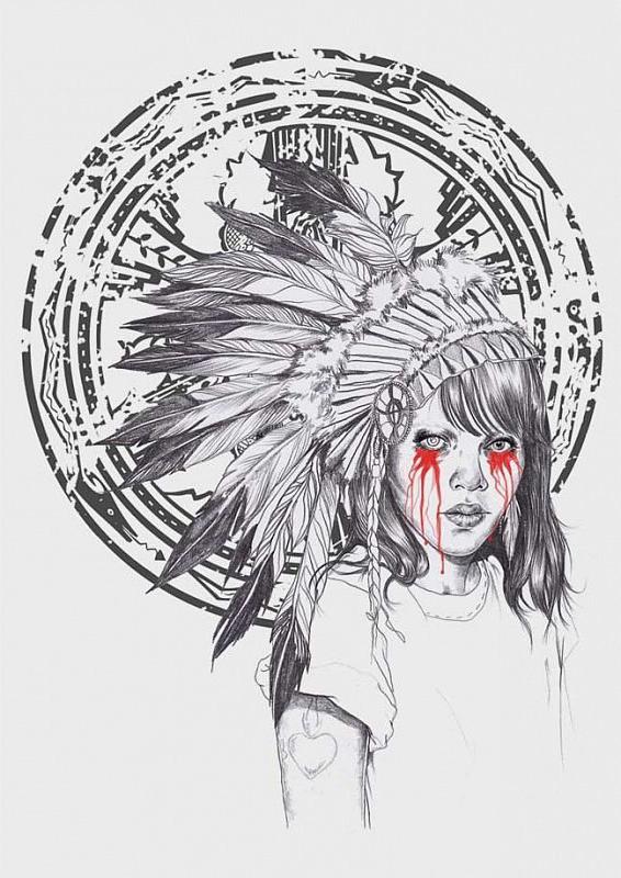 Bloody Tears Indian Girl tattoo