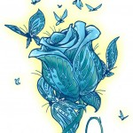 Blue butterflies rose drawing tattoo