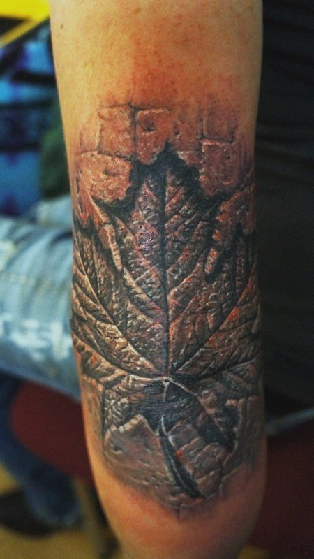 Bronze Maple leaf 3D tattoo