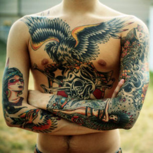 Chest Eagle and two sleeves traditional tattoo