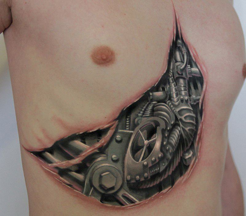 Chest Steel Heart tattoo
