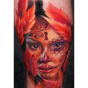 Chicano Autumn Girl realistic tattoo
