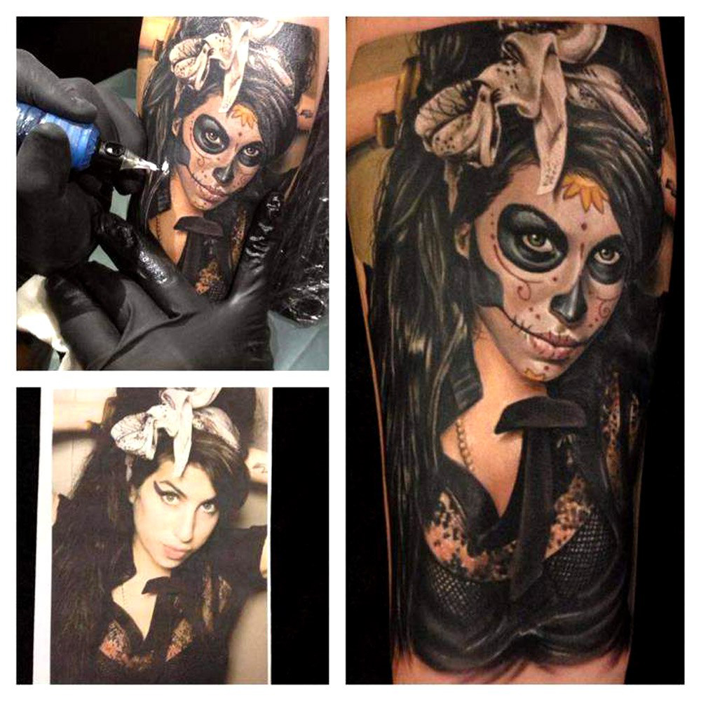 Santa Muerte Amy Winehouse realistic tattoo
