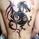 Chinese dragon back tribal tattoo