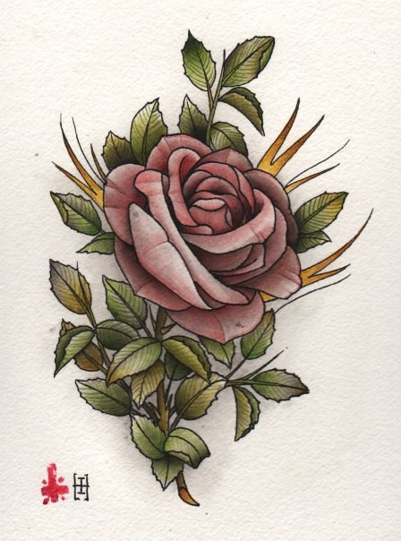 Chinese rose drawing tattoo