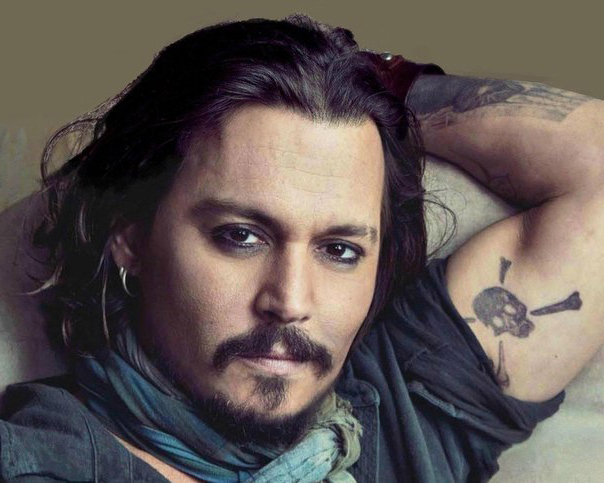Close-up Johnny Depp tattoos on arm