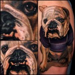 Clumsy Bulldog realistic tattoo