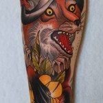 Conquistador Fox traditional tattoo sleeve