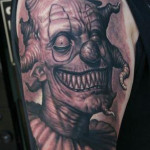Creepy Evil Clown tattoo on Shoulder