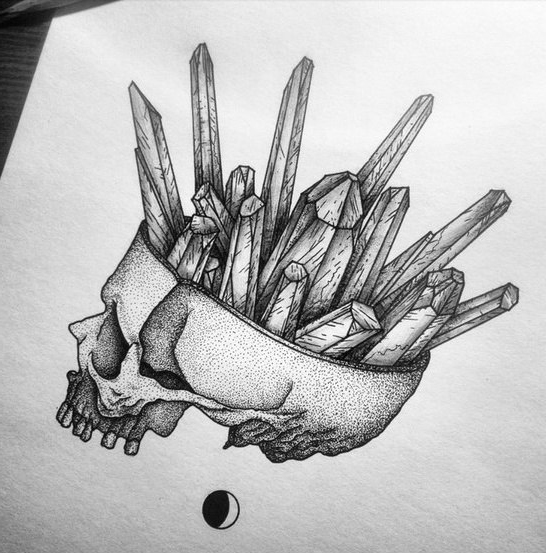 Crystal Brain dotwork tattoo
