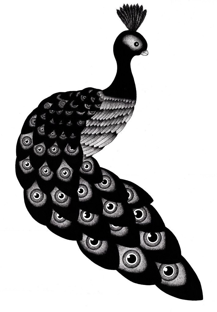 Dark Peafowl dotwork tattoo