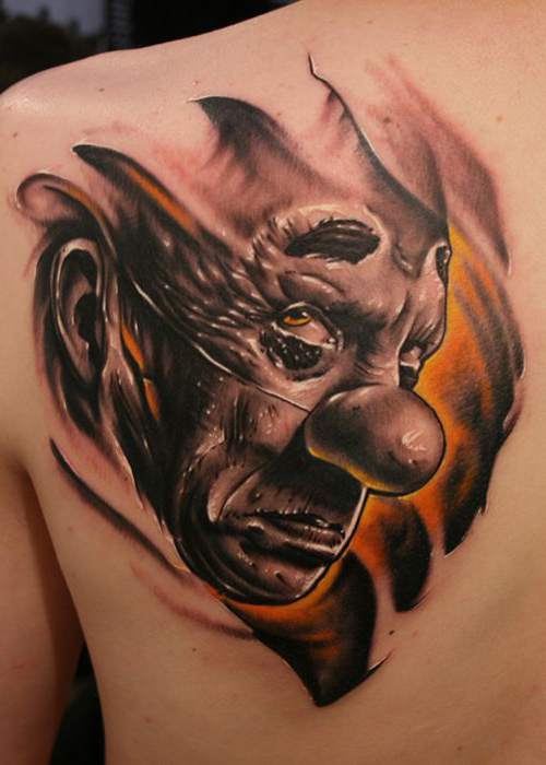 Dark Sad Evil Clown tattoo