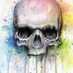 Dark Skull on Bright background tattoo