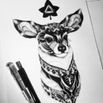 Deer Druid dotwork tattoo
