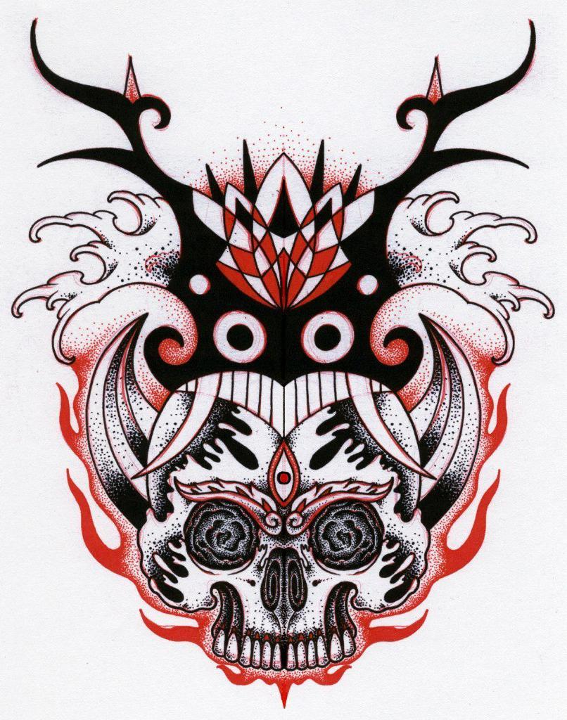 Demon Within dotwork tattoo