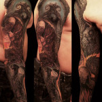 Demonic world tattoo sleeve for men
