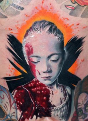Depressed Girl realistic tattoo
