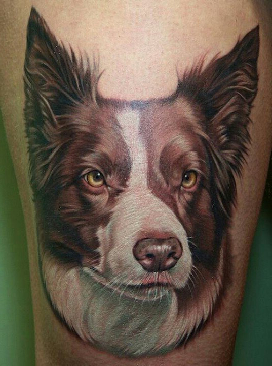 Doggy pet realistic tattoo