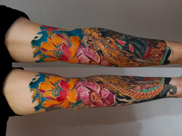 Dragon lotus japanese sleeve tattoo