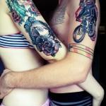 El Muerte couple tattoos